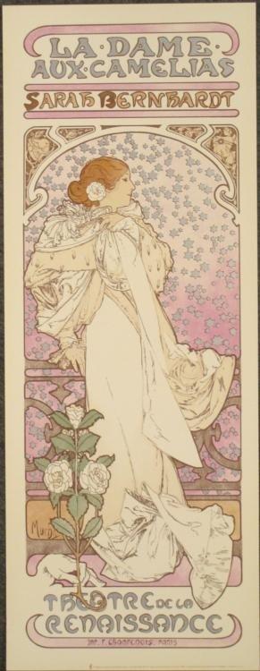 Mucha La Dame aux Camelias Sarah Bernhardt Print
