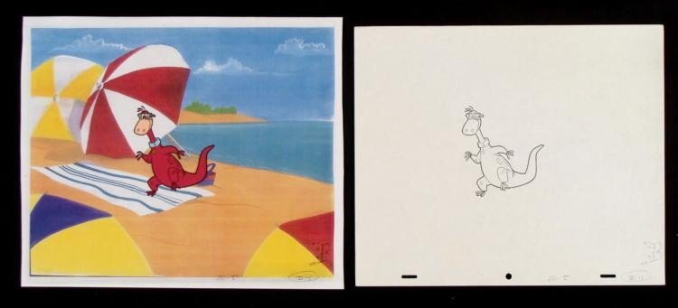 Dino Fetch Animation Cel Flintstones Original Drawing