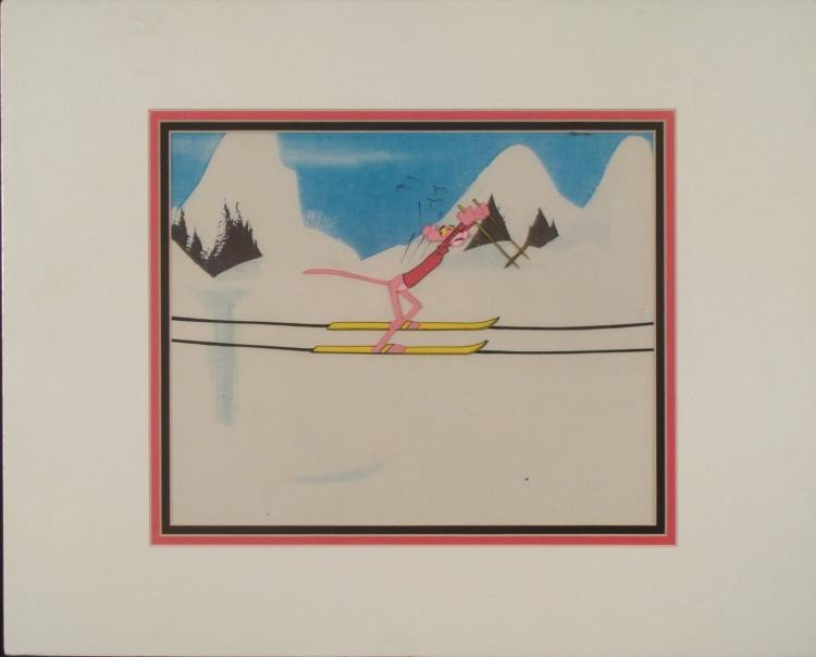 Pink Panther Original Production Cel & Backgrnd Skiing