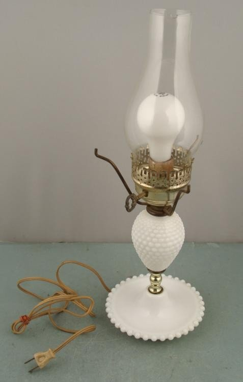 Lamp White w/ Milk Glass And Glass Shade Vintage