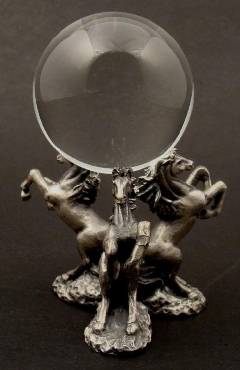 Lucky Crystal Ball with Pewter Horses Stand
