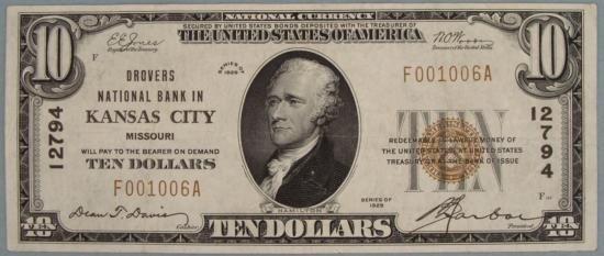 1929 $10 National Bank Note Ty I CH# 12794 Kansas City