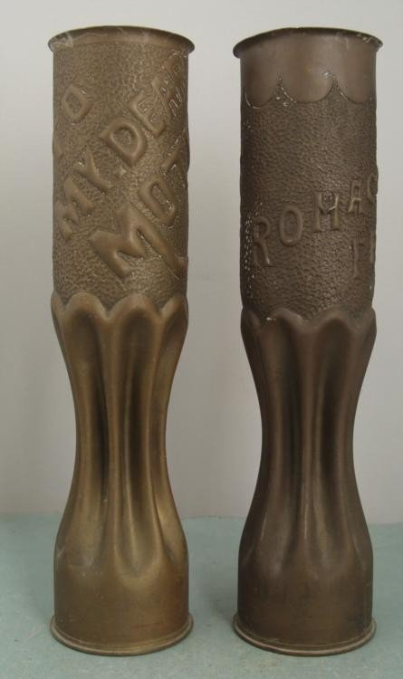 PAIR OF WWI U.S. DOUGHBOY TRENCH ART-SHELLS -FRANCE
