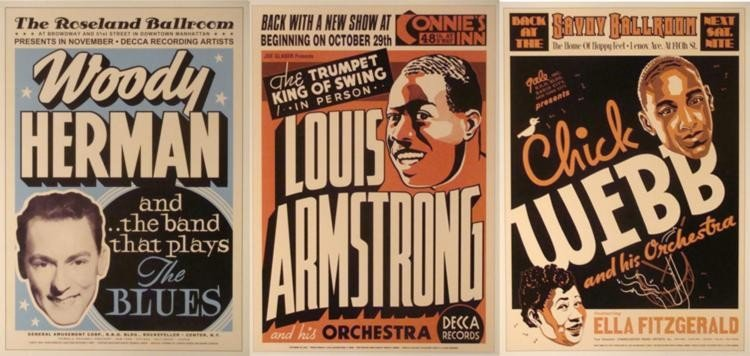 4 Jazz Repro Posters Armstrong Dorsey Webb Woody Herman