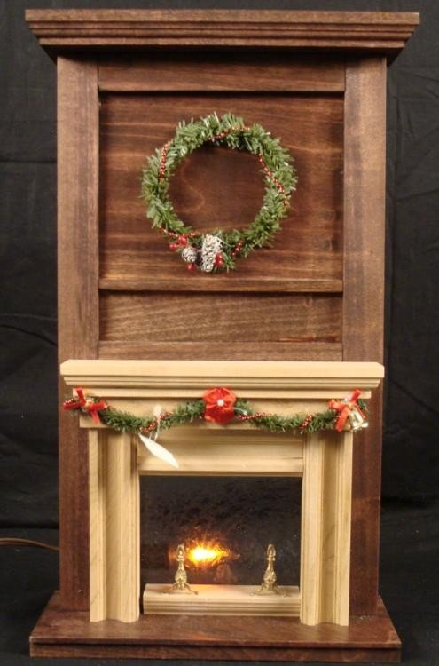 Winter Fireplace Mini Lighted Display -Hand Made Wood