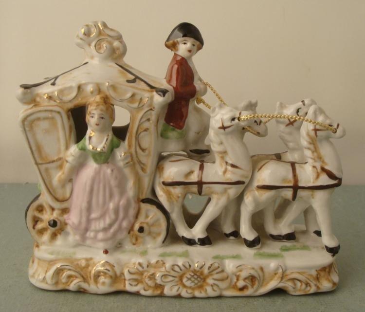 Vintage Porcelain Princess Horses & Carriage Figurine