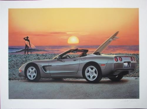Scott Jacobs Endless Summer Corvette Car Surf Art Print