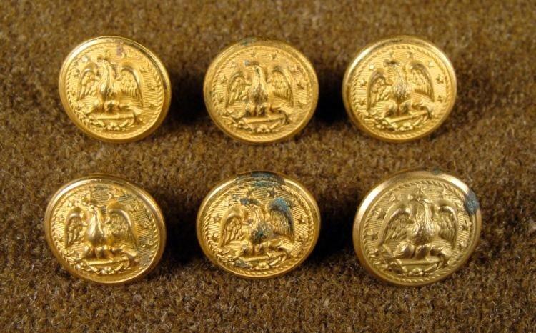 6 Civil War Orig Gilt Naval Buttons Superior Quality