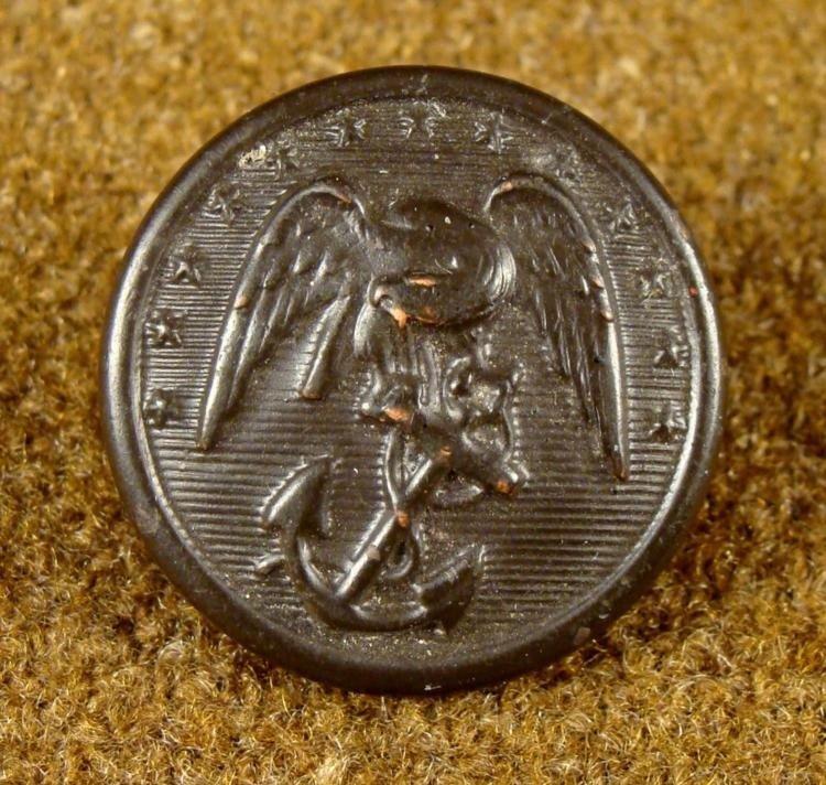 Civil War Orig US Marines Black Rubber Button Waterbury