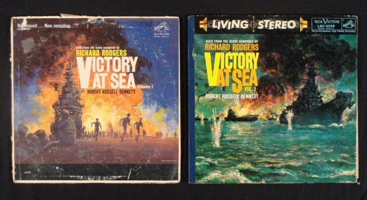 TWO LP'S VICTORY AT SEA VOLUME 1 AND 2 1958
