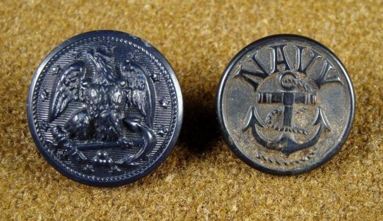 2 Civil War Orig Black Rubber Naval Navy Buttons HBW