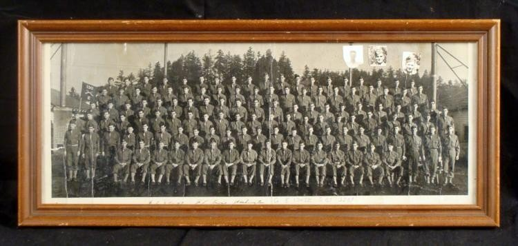 FRAMED PHOTO OF WWII COMPANY E 130TH 2ND BATTALION 33RD