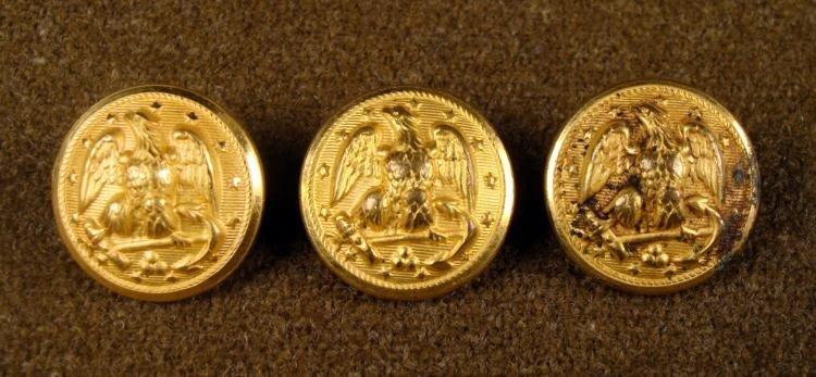 3 Civil War Orig Gilt Naval Buttons Waterbury