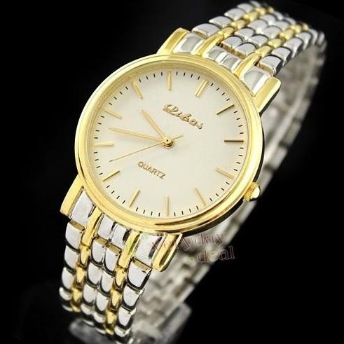 Unisex Silver and Gold Tone Ultrathin Wrist Watch