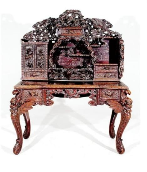 Carved Hardwood Oriental Desk