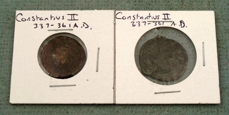 2 Different Ancient Imperial Roman Coins Constantius II