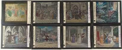 8 Antique Magic Lantern Romeo & Juliet Glass Slides CPS