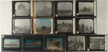13 Antique Magic Lantern Glass Slides Ships, Rural Life