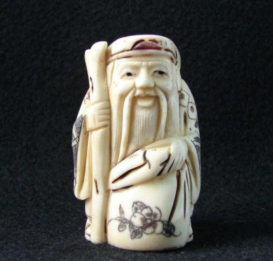 MWF1542Q Handcarved Ox Bone Netsuke Figure