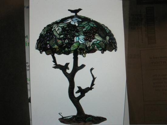 Bird lamp with grape pattern after Tiffany style