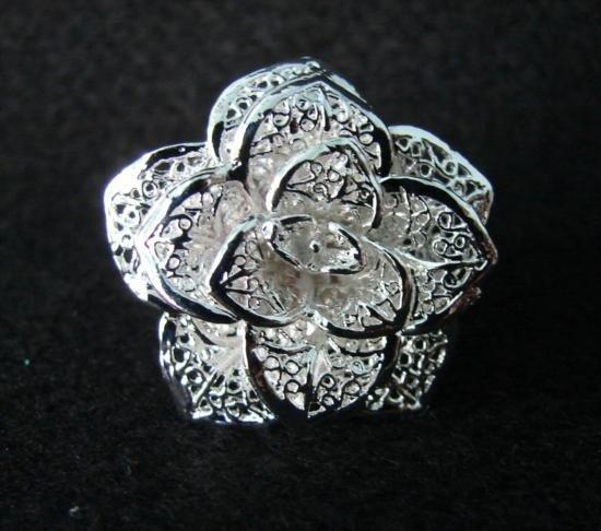 Delicate Filagree Rose Sterling Silver Bracelet