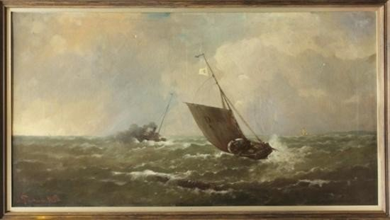 MWF1530 Framed oil on canvas Ships in Rough Seas