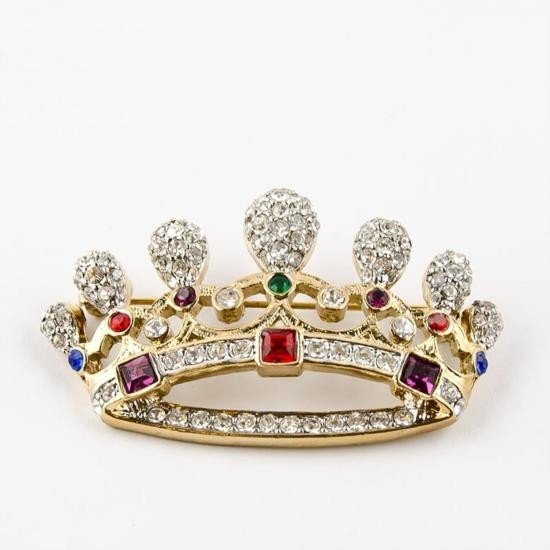 Faberge Style Crown Brooch