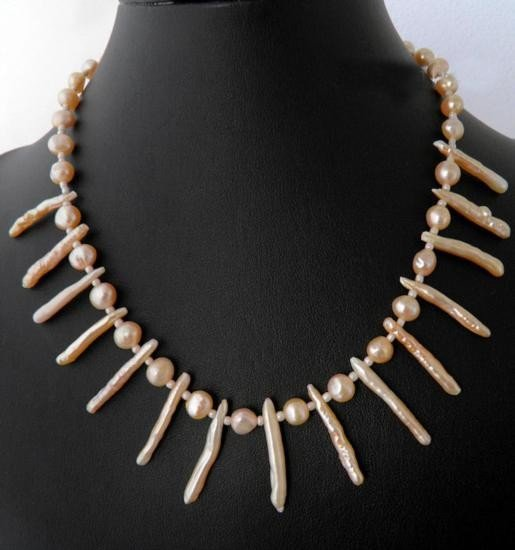 Elegant Genuine Pearl sticks and Peach Pearl Necklace