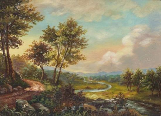MWF1383H 5x7 Oil on Board Depiciting Stream Landscape S