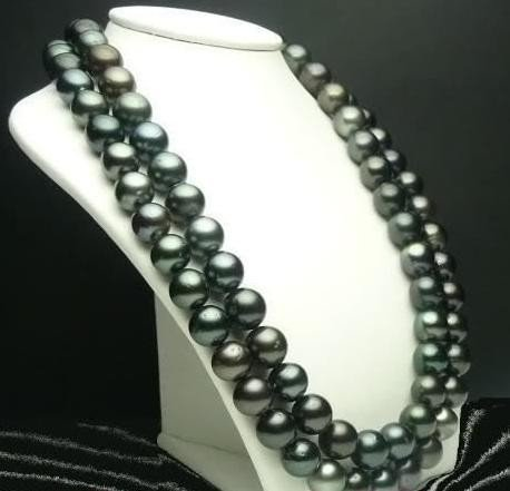 Immaculate 9-10 mm Black Tahitian Cultured Pearl Neckla