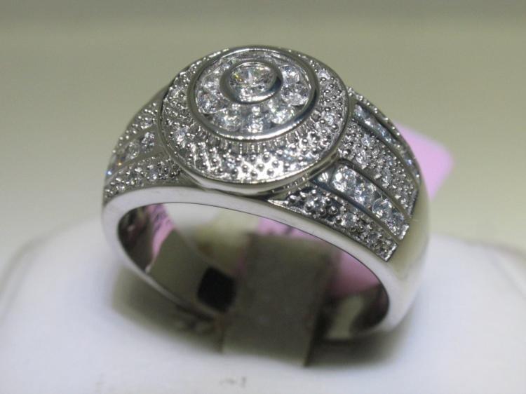 Mens 14K White Gold Ring Size 10 1/2 Diamond Ring