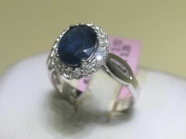 BLUE SAPPHIRE and Diamonds 14K White Gold Ring 6 1/2