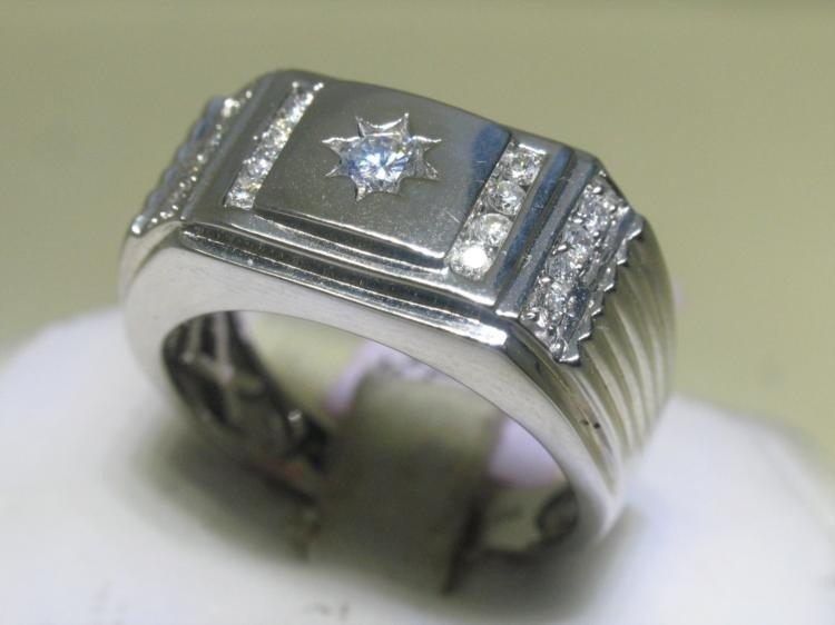 Men's Size 10 All Diamonds .50 CT 14K White Gold Ring