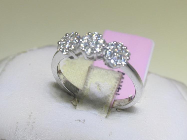 All Diamonds Flower Design 14K White Gold Ring 6 1/2