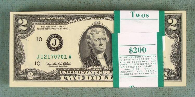 100 CU Consec 2003-A $2 Bills J Mint Bank Wrapped Notes
