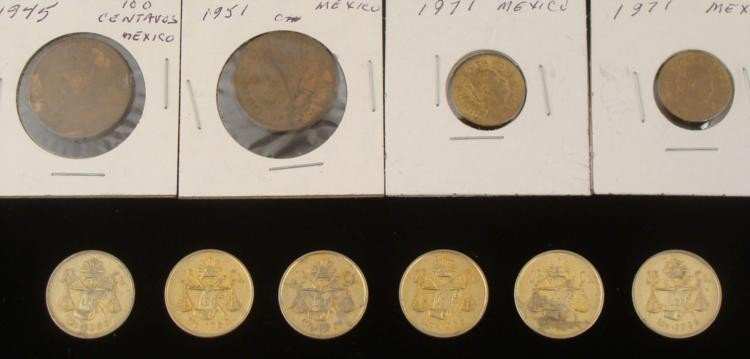 10 Early Mexican Coins 1945-1971 -5, 10, 25 Centavos