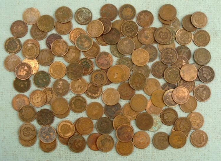 120 Mixed Date Indian Cent Coins 1880-1899 Clear Dates