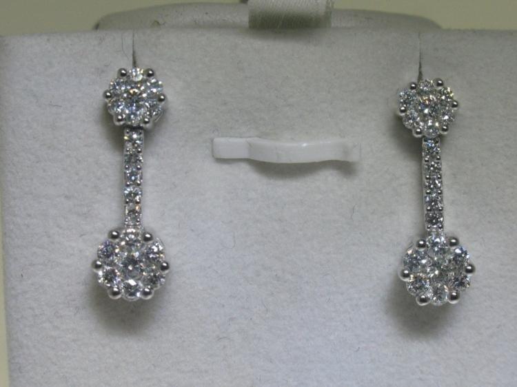 14K White Gold All Diamonds Earrings 1 Carat