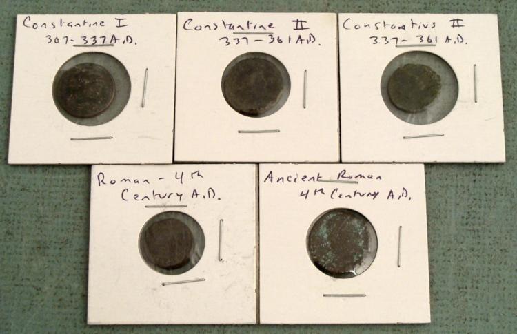 5 Ancient Roman Coins: Constantine I,II Constantius II