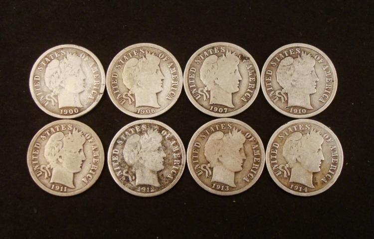 8 Hi Grade Barber Silver Dimes 1900-1916 Mint Marks