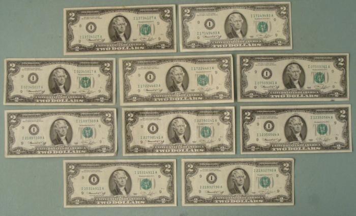 (10) 1976 $2 Notes Bills I Mint Mark Minneapolis- Nice