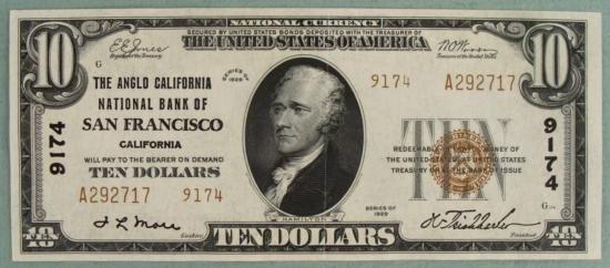 1929 $10 NC Ty II CH# 9174 San Francisco Banknote