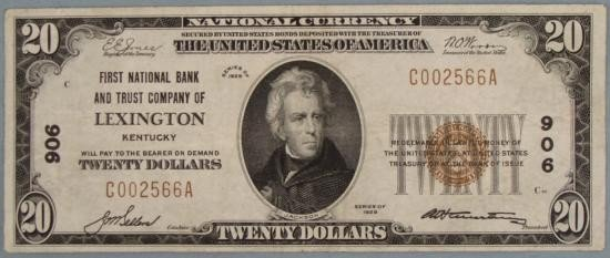 1929 $20 National Bank Note Ty I CH# 906 Lexington KY