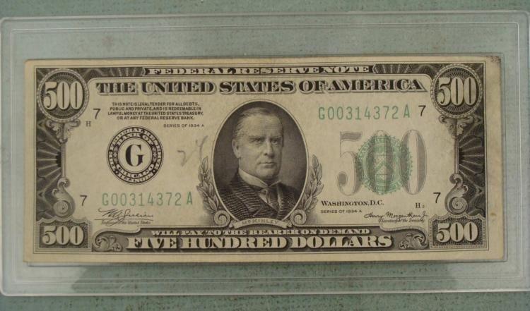 Hi-Grade 1934-A $500 Dollar Bill Note G Mint Chicago