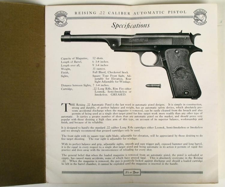 VINTAGE REISING AUTO PISTOL BOOKLET FOR .22 CALIBER - 3