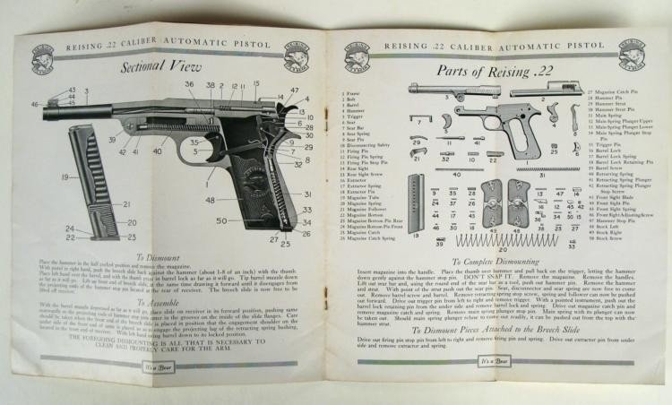 VINTAGE REISING AUTO PISTOL BOOKLET FOR .22 CALIBER - 4