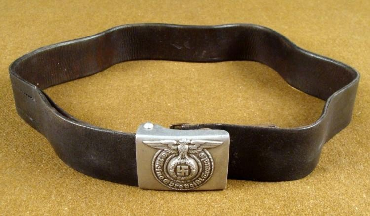 SS BELT AND BUCKLE WITH EAGLE AND SWASTIKA ORIGINAL