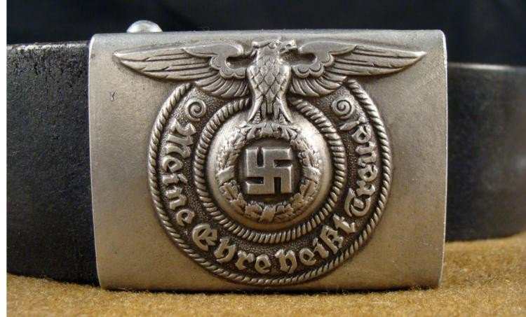 SS BELT AND BUCKLE WITH EAGLE AND SWASTIKA ORIGINAL - 2