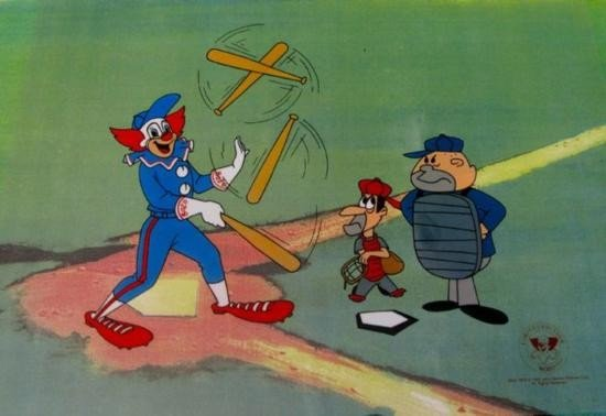Bozo The Clown Playing Baseball