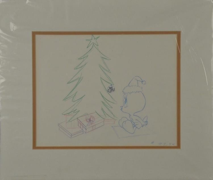 Tweety Original Animation Production Drawing Christmas
